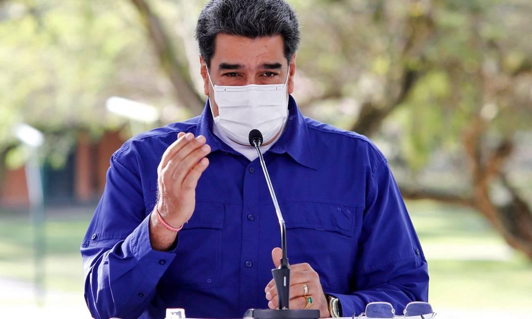 O presidente Nicolás Maduro fala na TV estatal Foto: JHONN ZERPA / AFP