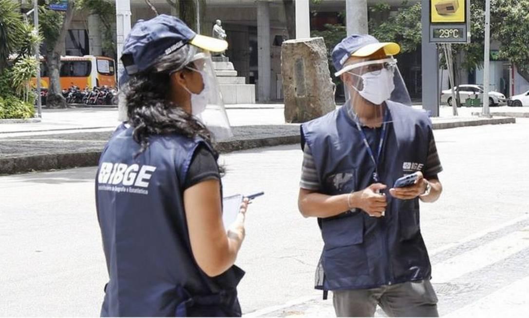 Pesquisadores do IBGE Foto: BBC