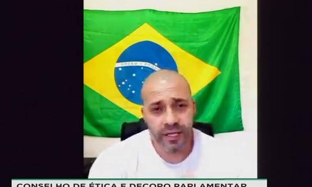 O deputado Daniel Silveira durante sua defesa no Conselho de Ética da Câmara Foto: Reprodução/ TV Câmara