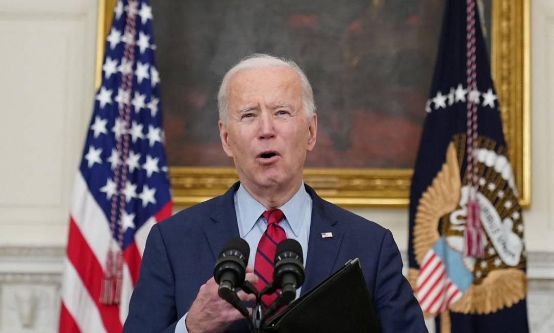 Presidente dos Estados Unidos, Joe Biden, durante discurso na Casa Branca sobre o massacre em Boulder, no Colorado Foto: MANDEL NGAN / AFP