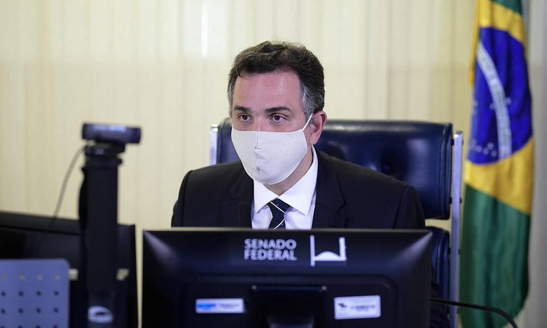 O presidente do Senado, Rodrigo Pacheco, em sessão plenária por videoconferência Foto: Pedro França/Agência Senado
