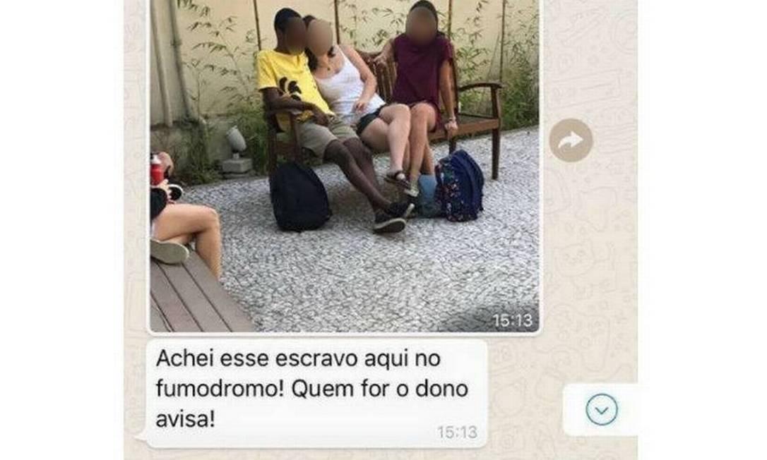 Postagem com mensagem racista foi feita em grupo de WhatsApp Foto: Reprodução