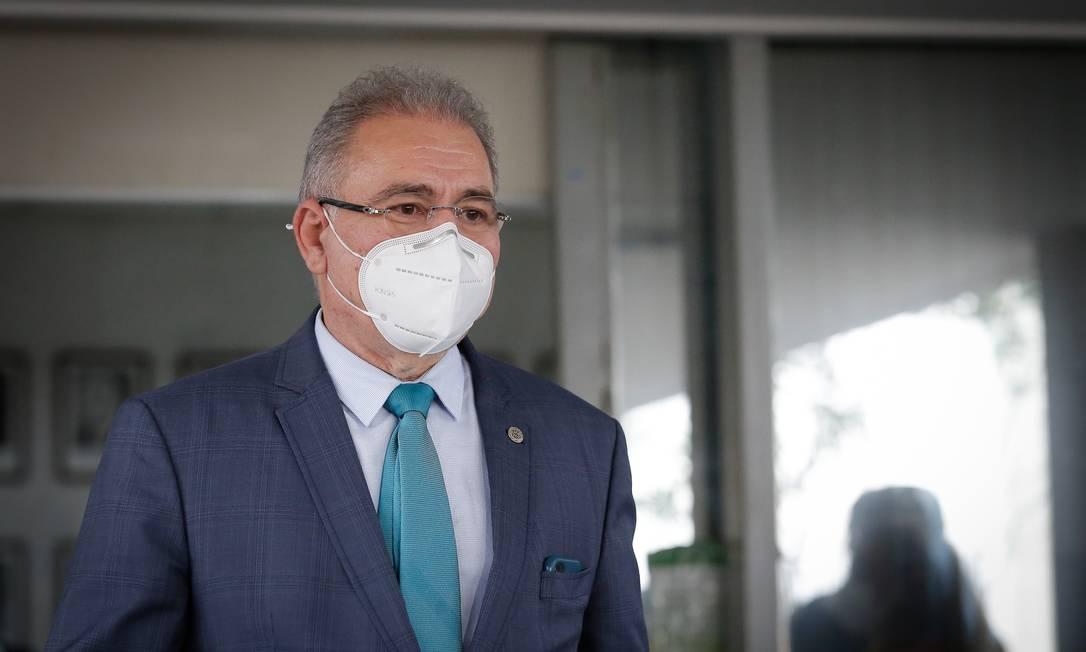 O novo ministro da Saúde, Marcelo Queiroga, antes de pronunciamento Foto: Pablo Jacob/Agência O Globo/16-03-2021