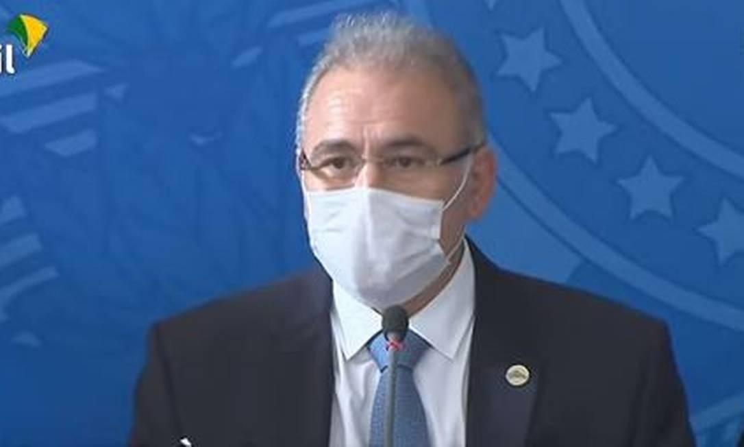 O novo ministro da Saúde, Marcelo Queiroga, durante entrevista Foto: Reprodução/TV