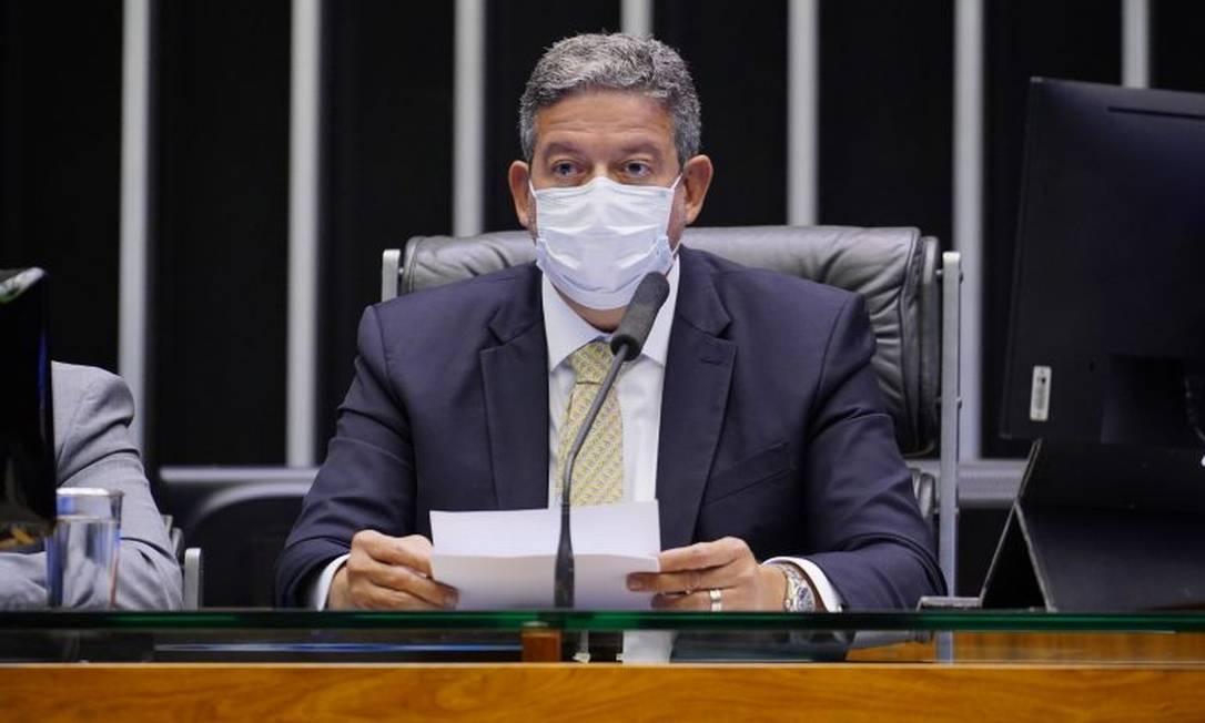 O presidente da Câmara, Arthur Lira, fez um duro discurso contra a condução do governo no combate à pandemia Foto: Agência Câmara de Notícias