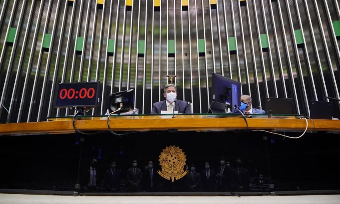 Insatisfeito, Lira faz discurso duro ao Planalto contra o gerenciamento no combate à pandemia Foto: Agência Câmara