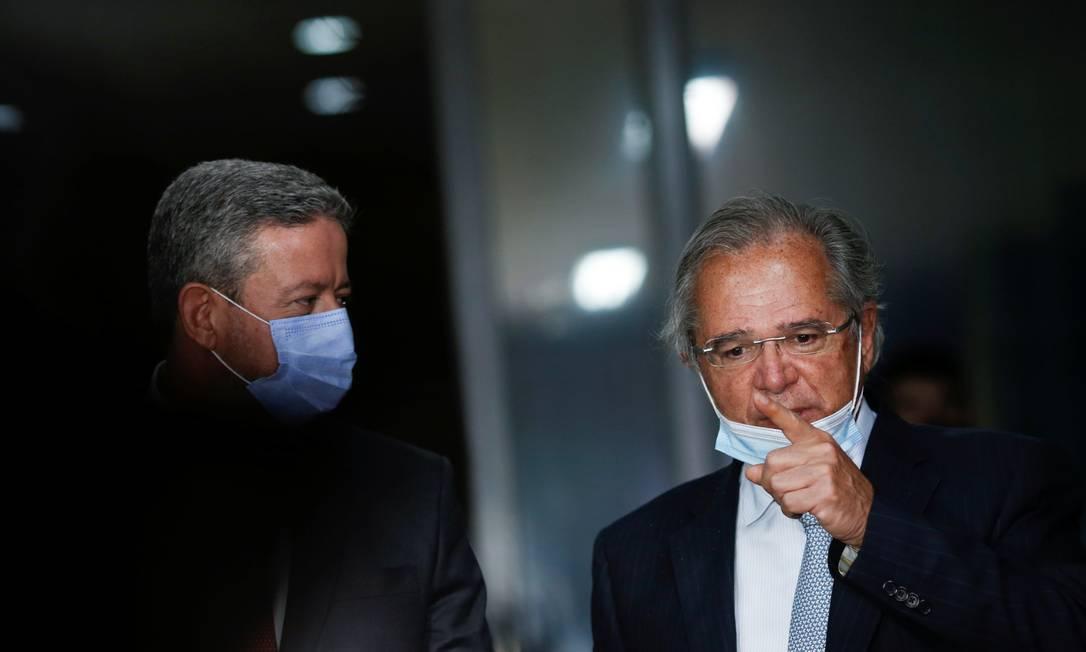 O ministro da Economia, Paulo Guedes e o presidente da Câmara, Arthur Lira Foto: Adriano Machado/Reuters