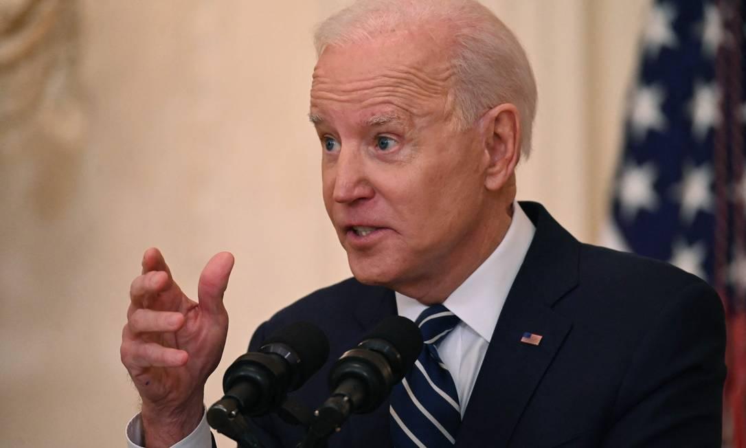 Presidente dos EUA, Joe Biden, em Washington, em 25 de março de 2021 Foto: JIM WATSON / AFP