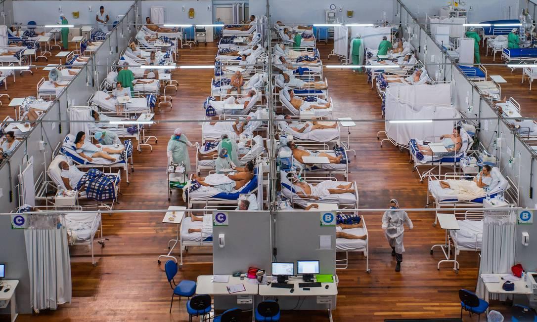 Leitos de internação de pacientes com Covid-19 no ABC paulista Foto: Edilson Dantas / Agência O Globo