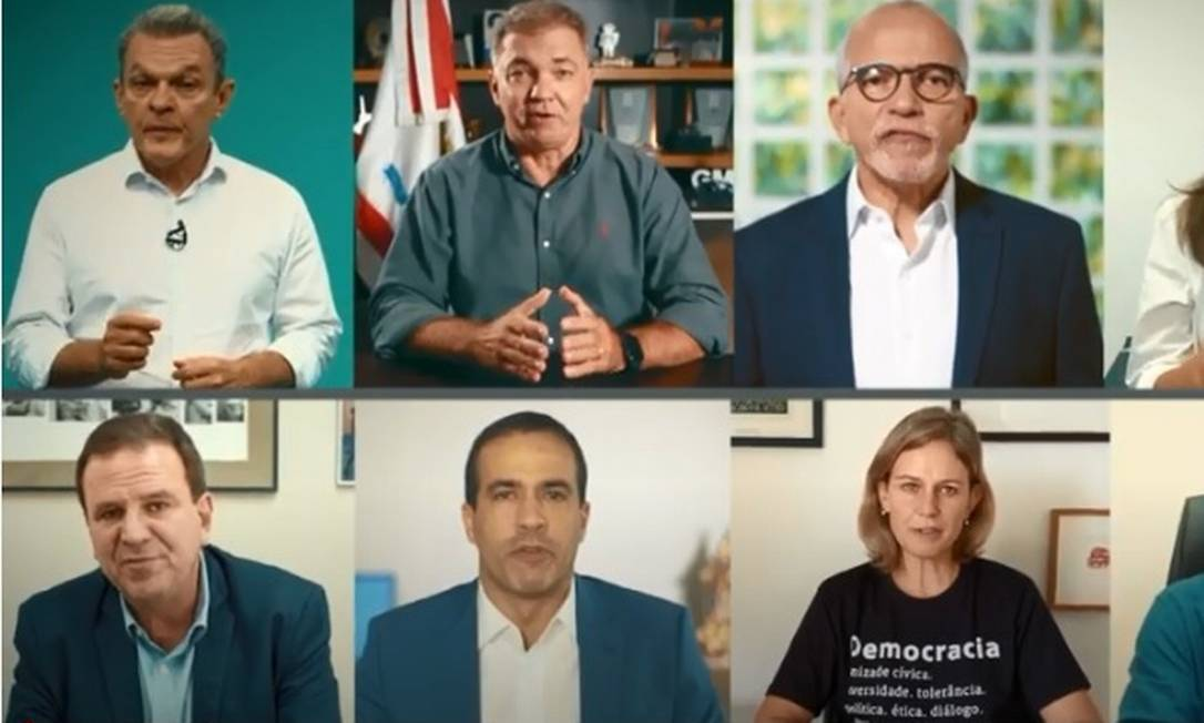 Oito prefeitos gravam vídeo pedindo ajuda de outros países no combate à pandemia Foto: Divulgação / Frente Nacional de Prefeitos