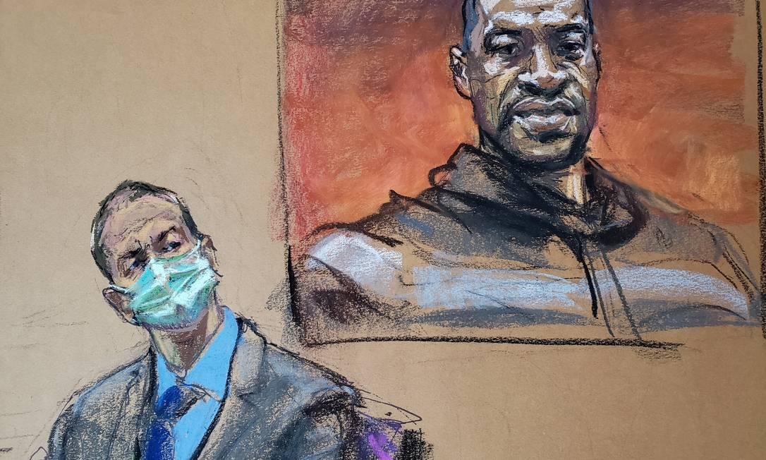 Reprodu??o artística do primeiro dia do julgamento de Derek Chauvin mostra o réu diante de uma foto de George Floyd, durante exibi??o do vídeo da morte do homem, em maio de 2020 Foto: JANE ROSENBERG / REUTERS