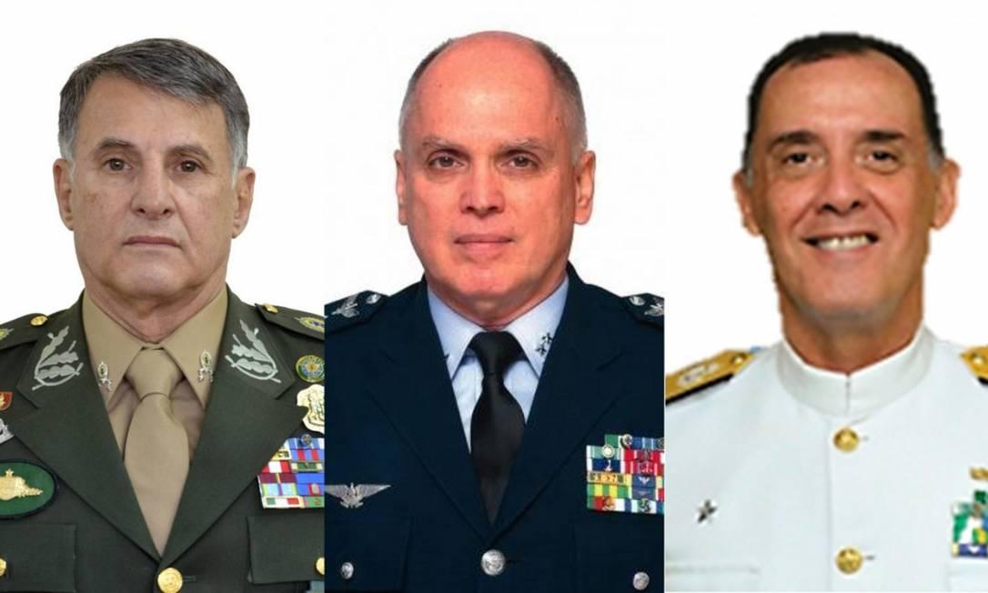 Comandantes Edson Pujol (Exército), Antonio Carlos Bermudez (Aeronáutica) e Ilques Barbosa Junior (Marinha) Foto: Reprodução