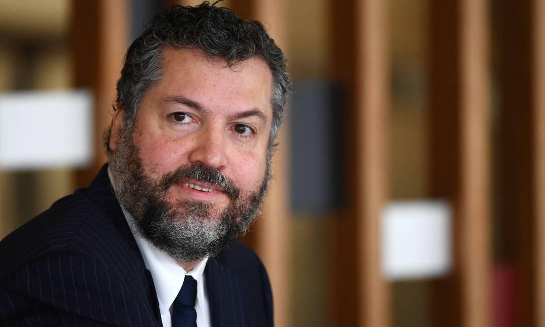 Ex-chanceler Ernesto Araújo, durante entrevista coletiva no dia 2 de março Foto: EVARISTO SA / AFP