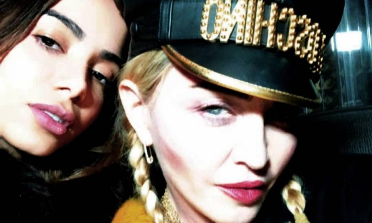 """Madonna: A faixa """"Faz Gostoso"""" faz parte do CD """"Madame X"""" (2019), e nela ambas cantam em portugês. Foto: Reprodução / Instagram"""