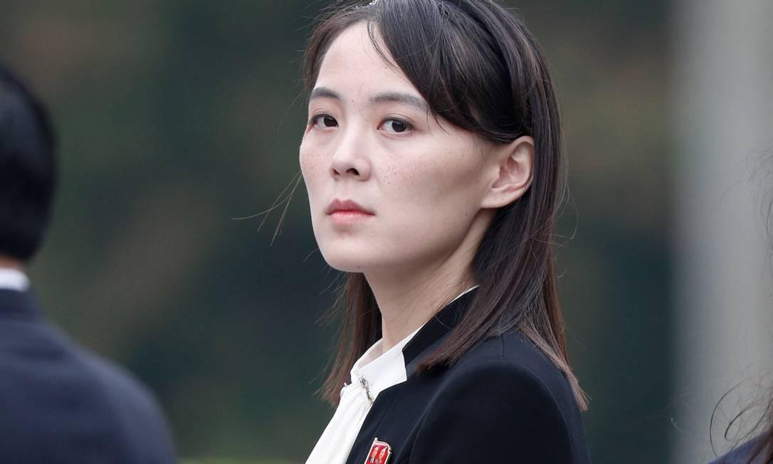 Kim Yo Jong, irmã do líder norte-coreano Kim Jong-un, em 2 de março de 2019 Foto: JORGE SILVA / Pool / AFP