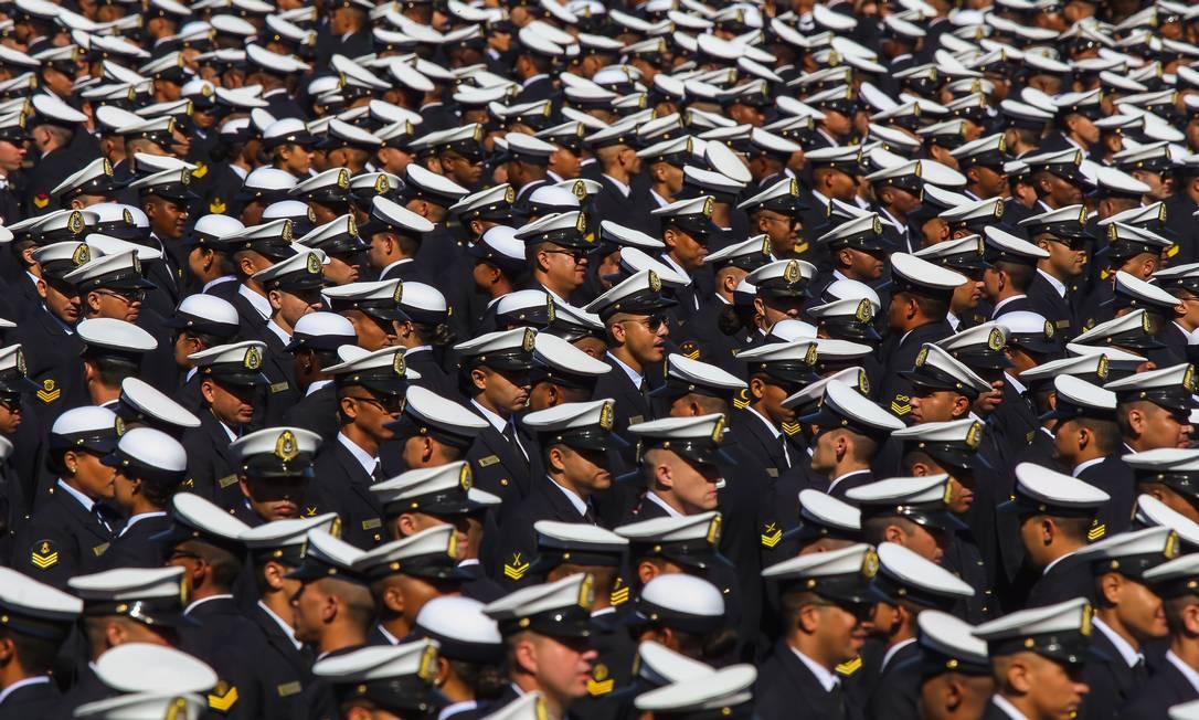 Formatura de militares no Centro de Instrução Almirante Alexandrino, no Rio Foto: Marcelo Régua / Agência O Globo (07/06/2019)