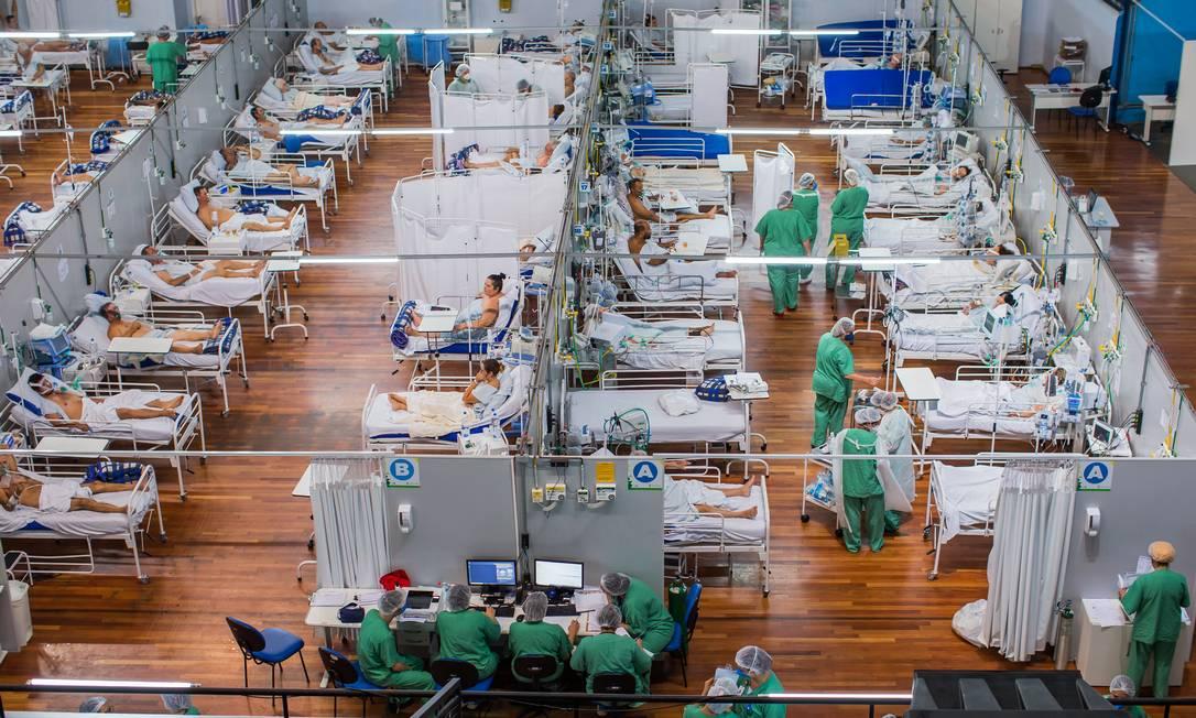 Hospital de campanha Pedro Dell'Antonia, na cidade de Santo André, na Grande SP Foto: Edilson Dantas / Agência O Globo (25/03/2021)
