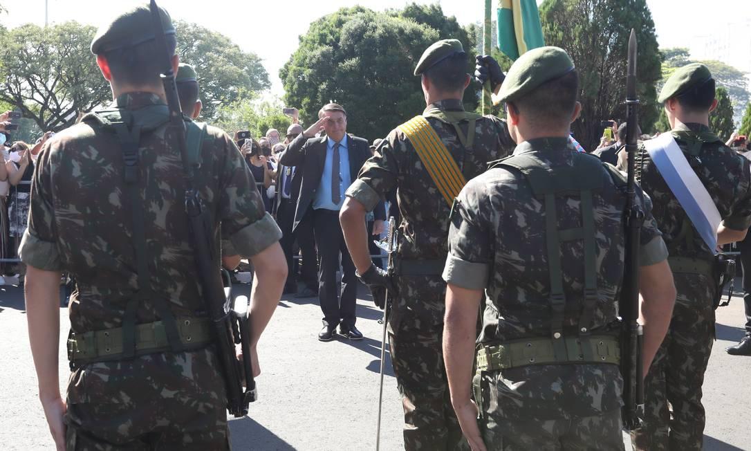 O presidente Jair Bolsonaro, durante cerimônia de escola militar em Campinas Foto: José Dias/PR / Agência O Globo (20/02/2021)