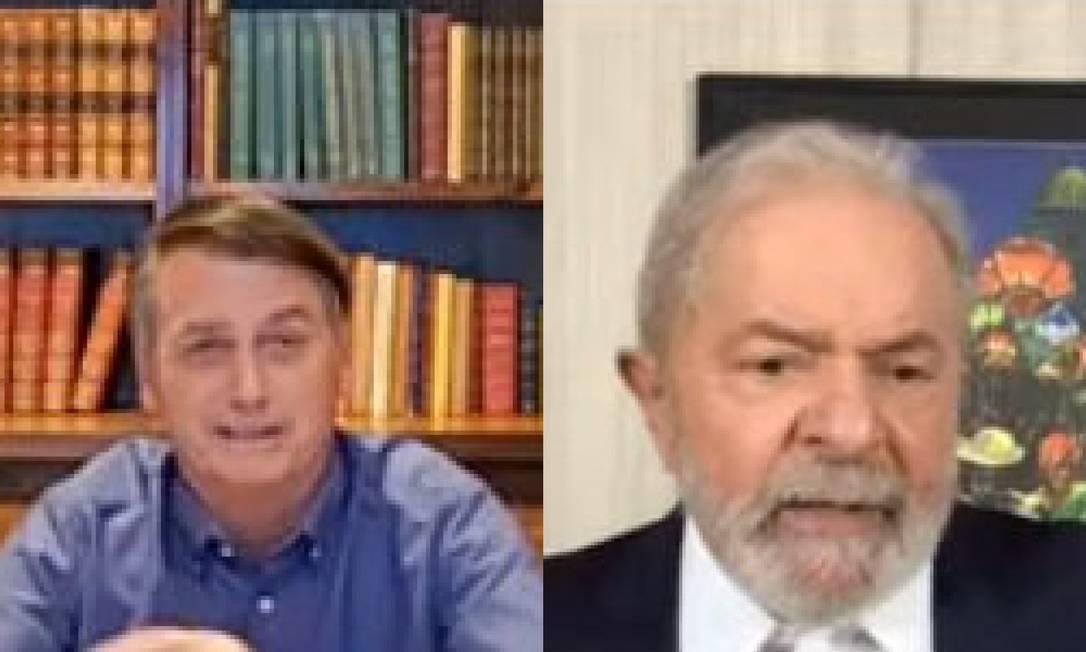 Jair Bolsonaro e Lula em lives nesta quinta-feira Foto: Reprodução
