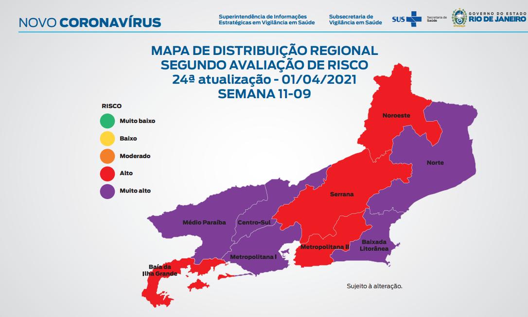 Mapa de risco do estado do Rio 02/04/2021 Foto: Divulgação