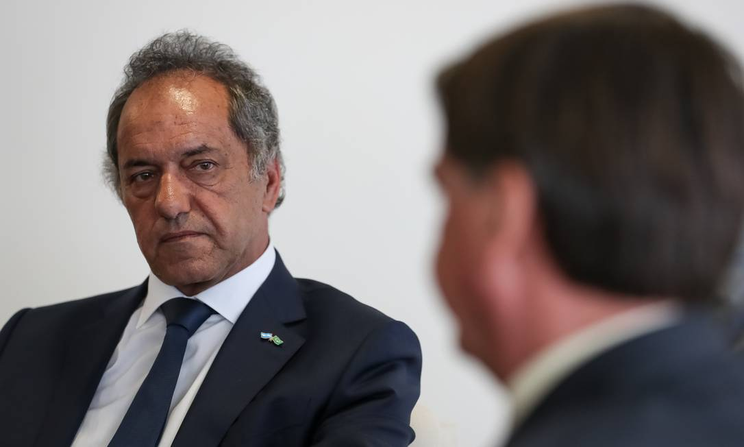 Embaixador da Argentina Daniel Scioli, durante encontro com Jair Bolsonaro. Foto: Marcos Corrêa/PR Foto: Marcos Corrêa / PR