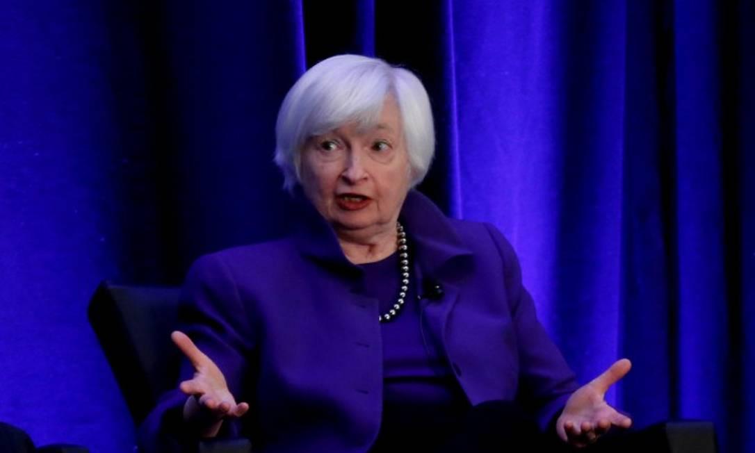 Janet Yellen fala durante um painel de discussão na reunião da American Economic Association em Atlanta, Geórgia, EUA Foto: Christopher Aluka Berry / Reuters/Arquivo