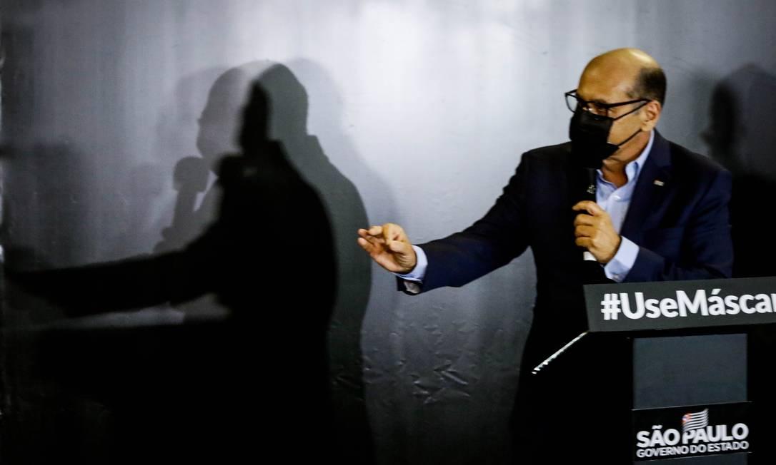 O diretor do Instituto Butantan, Dimas Covas, durante apresentação de dados de vacinação no Palácio dos Bandeirantes Foto: Aloisio Mauricio/Fotoarena / Agência O Globo (10/11/2020)