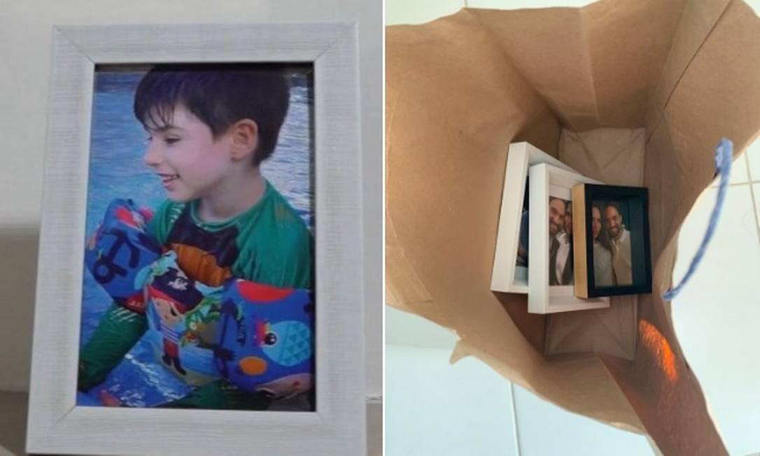 Porta-retrato com foto de Henry exposto no apartamento de Dr. Jairinho e Monique, e outros guardados em sacola Foto: Reprodução
