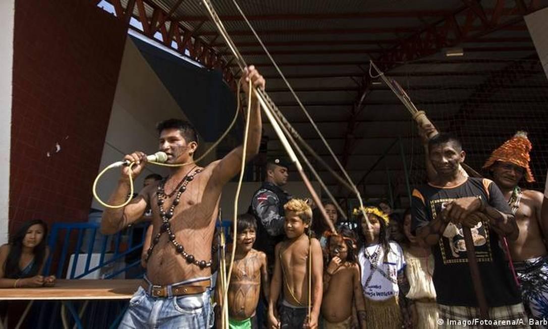 Protesto de nativos mundurucu no Pará, em 2013. Desde então, situação de indígenas se deteriora continuamente Foto: Imago/Fotoarena/ A. Barbosa