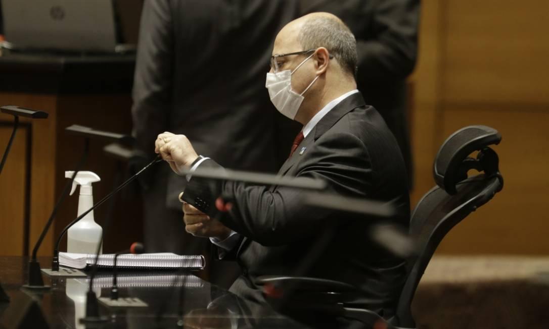O governador afastado Wilson Witzel na sessão do Tribunal Especial Misto de depoimento do ex-secretário Edmar Santos Foto: Antônio Scorza / Agência O Globo