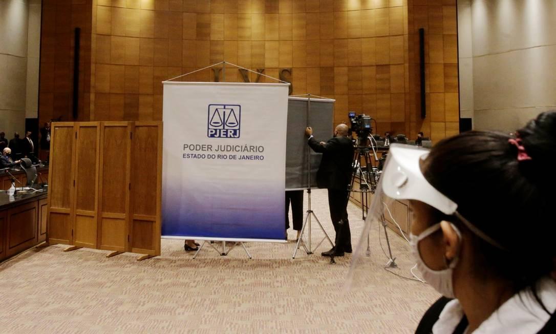 Tribunal instalação protetotes para que ex-secretário deponha de forma reservada Foto: Antônio Scorza / Agência O Globo