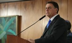 O presidente Jair Bolsonaro discursa durante cerimônia no Palácio do Planalto Foto: Marcos Corrêa / Presidência da República