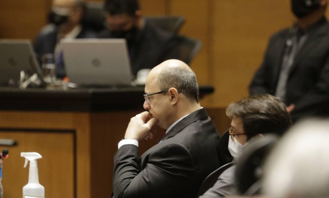 O governador afastado Wilson Witzel compareceu ao depoimento de seu ex-secretário de Saúde Edmar Santos Foto: Antonio Scorza / Agência O Globo