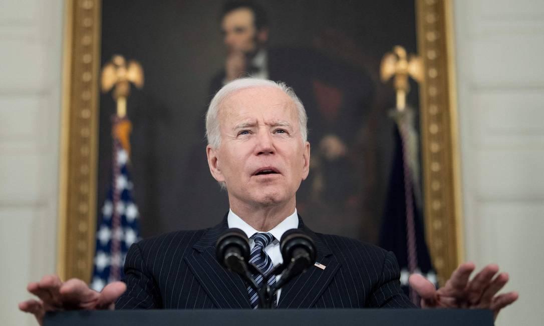 Medidas de apoio à Palestina são algumas das mais significativas que Biden tomou desde que assumiu a presidência, em 20 de janeiro Foto: BRENDAN SMIALOWSKI / AFP