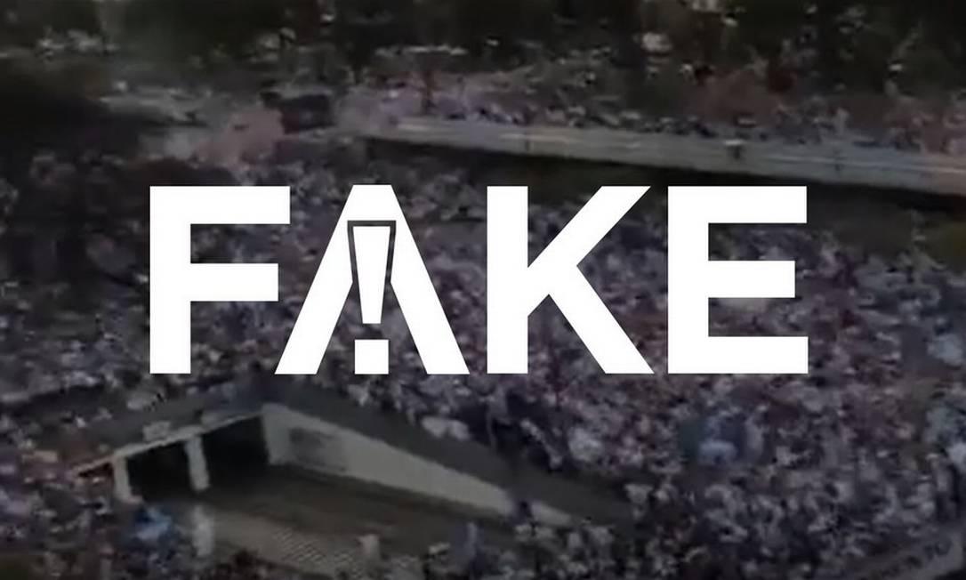 É #FAKE que vídeo de multidão na Argentina mostre protesto contra medidas de isolamento na pandemia Foto: Reprodução