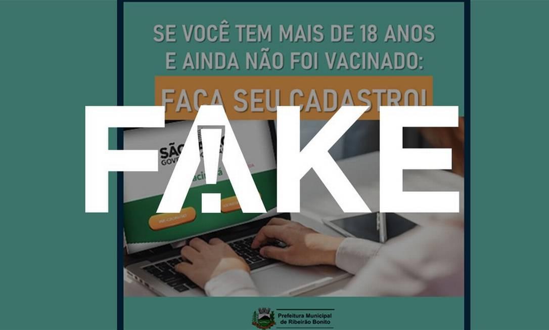 É #FAKE que critério mudou e que doses da vacina contra a Covid-19 são enviadas aos municípios de SP de acordo com os cadastros do site Vacina Já Foto: Reprodução