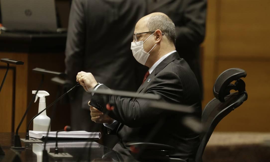 O governador afastado Wilson Witzel na sessão do Tribunal Especial Misto de depoimento do ex-secretário Edmar Santos Foto: Antonio Scorza / Agência O Globo