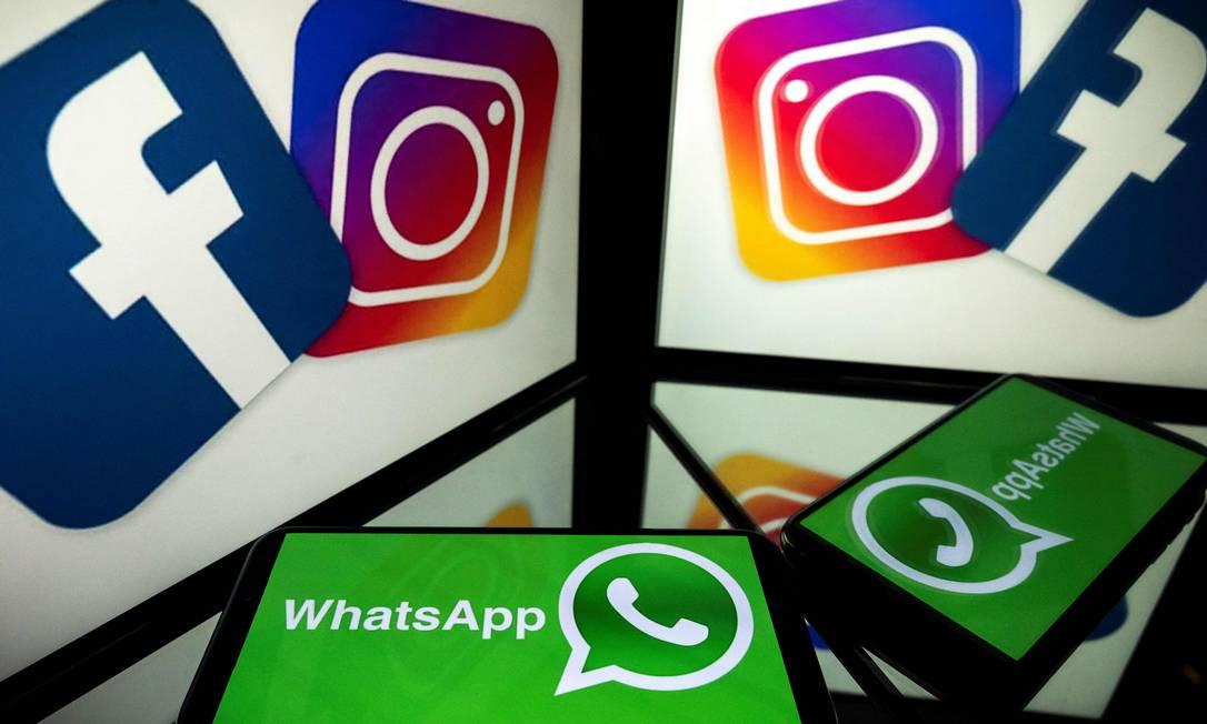 Na foto, aplicativos do grupo Facebook. Novas regras de privacidade do WhatsApp por conta do compartilhamento de dados com outros aplicativos do grupo estão na mira da Justiça Foto: LIONEL BONAVENTURE / AFP