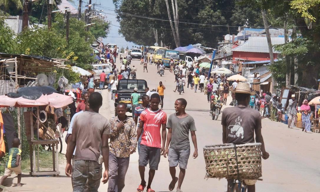 Visão geral de uma avenida no distrito de Palma, em Cabo Delgado, Norte de Moçambique Foto: GRANT LEE NEUENBURG / AFP/18-03-2021