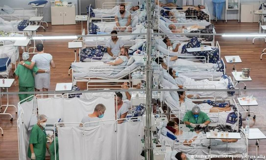 Hospital de Campanha em Santo André no início de março Foto: Andre Panner/ AP Photo