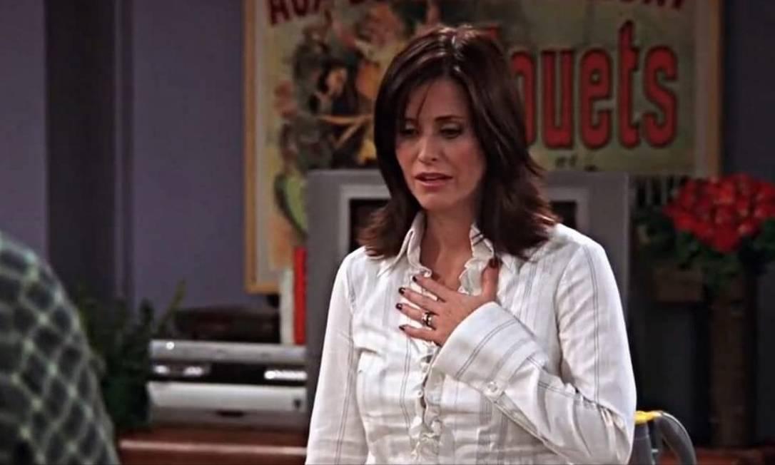 Courteney Cox em episódio da última temporada, em 2004 Foto: Reprodução