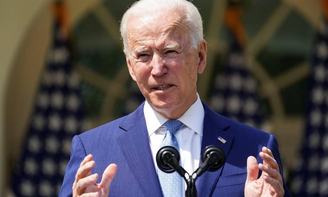 Presidente dos Estados Unidos, Joe Biden, durante discurso anunciando decretos para conter a violência por armas de fogo Foto: KEVIN LAMARQUE / REUTERS