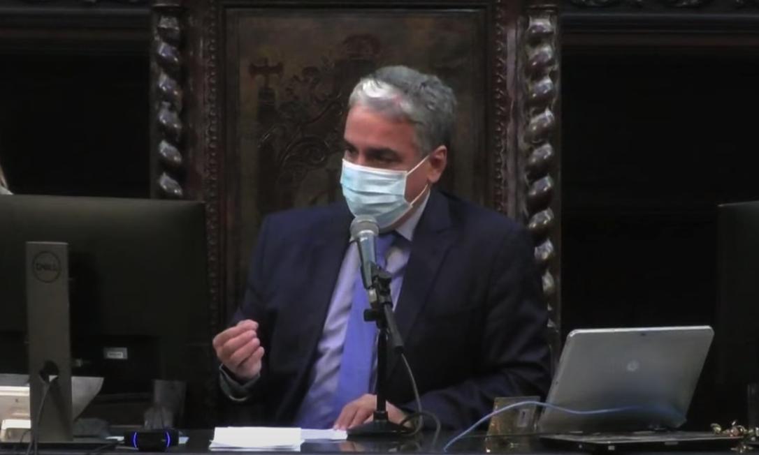 Presidente André Ceciliano durante sessão desta quinta-feira, na Alerj Foto: TV Alerj / Reprodução