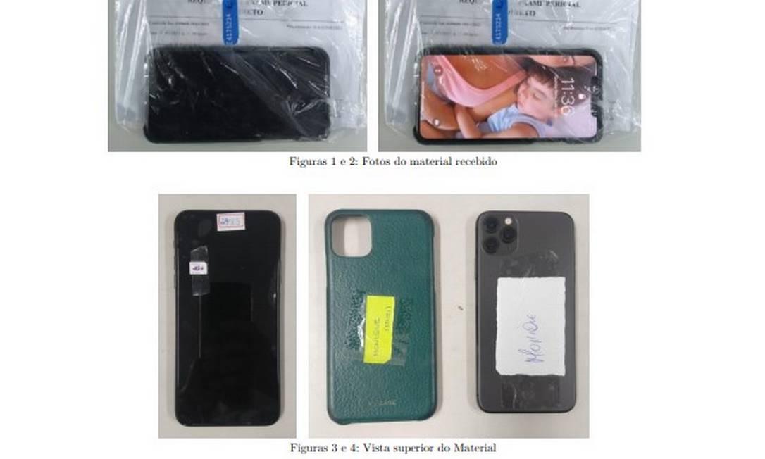 Parte dos telefones apreendidos pela polícia: aparelho de Monique tinha foto de Henry Foto: Reprodução