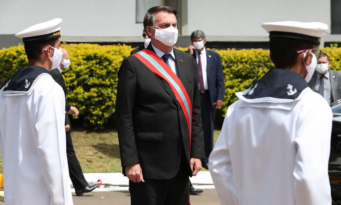 Bolsonaro participa da cerimônia de transmissão do comando da Marinha 09/04/2021 Foto: Marcos Correa / Divulgação