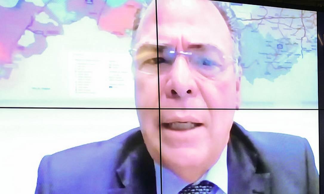 Olíder do governo no Senado, Fernando Bezerra Coelho (MDB-PE), em pronunciamento via videoconferência 06/04/2021 Foto: Pedro França/Agência Senado