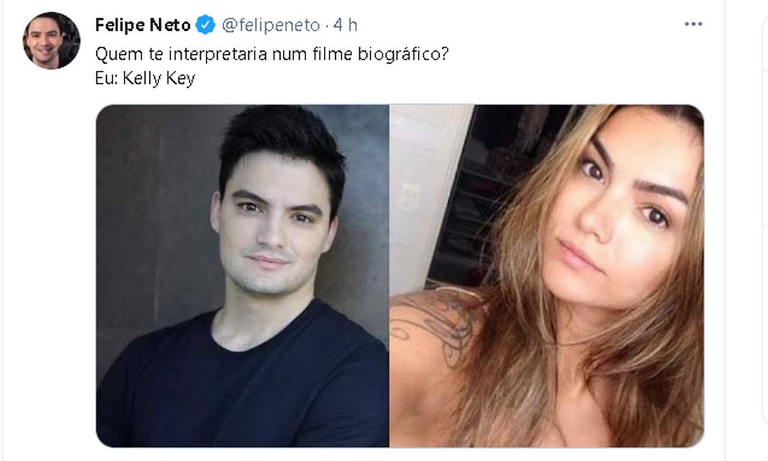 O youtuber Felipe Neto apostou na semelhança com Kelly Key Foto: Reprodução