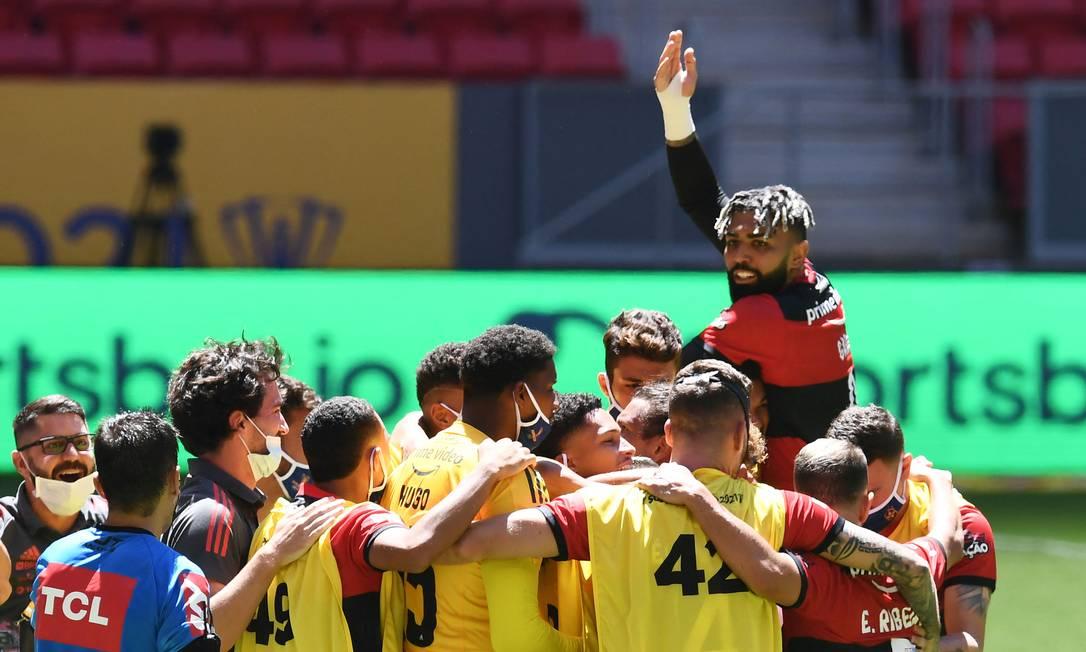 Gabigol marcou o primeiro gol do Flamengo sobre o Palmeiras Foto: EVARISTO SA / AFP