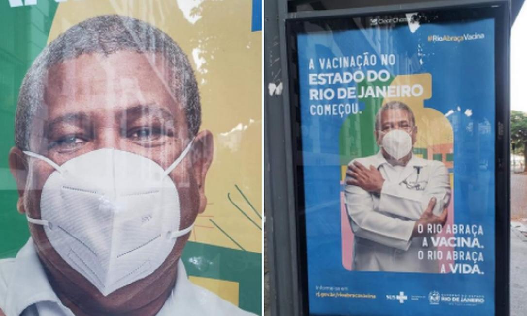 Capanha do governo do estado para estimular a vacinação traz homem usando máscara de cabeça para baixo Foto: Reprodução