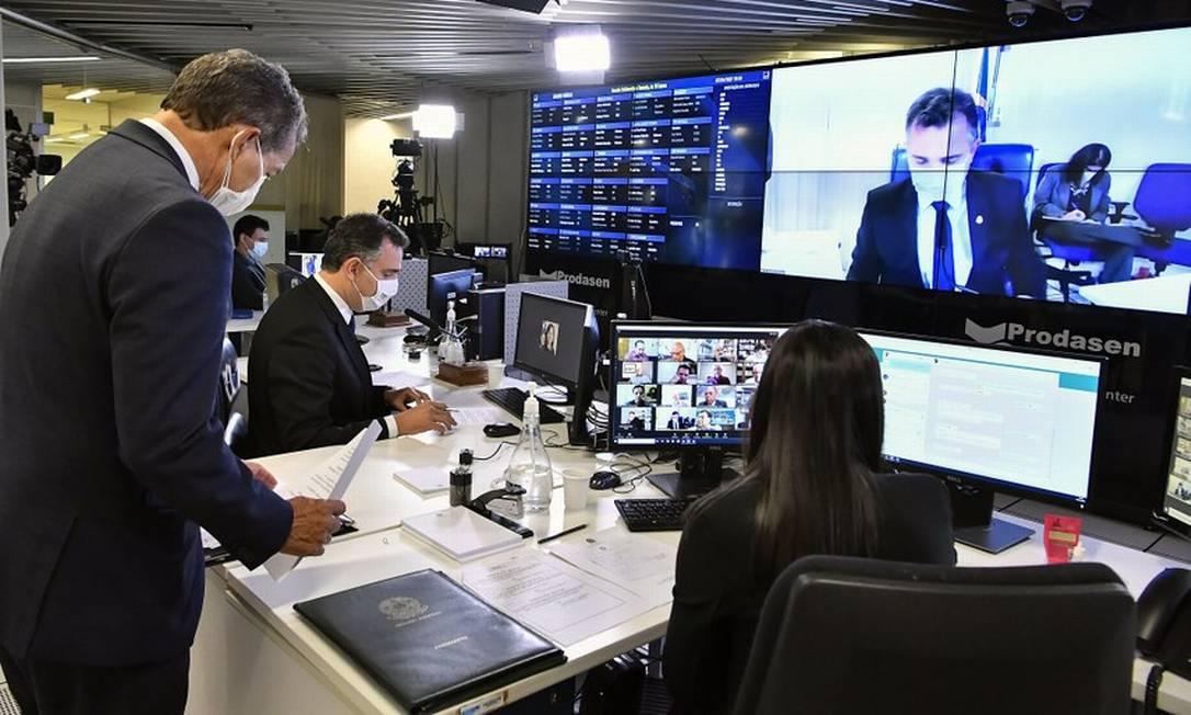 Rodrigo Pacheco preside sessão do Senado por videoconferência Foto: Agência Senado